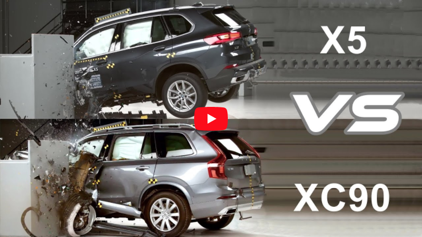 2019 bmw x5 vs 2019 volvo xc90  u2013 crash test